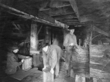 Seaside Shingle Mill interior with workers