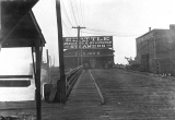 Oscar Carlson Exhibit photo showing Everett City Dock, scene of the Everett Massacre; looking west...