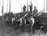 Loggers posed on downed timber with hand logging tools.