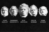 Postcard issued by IWW showing death masks of five Wobbly victims
