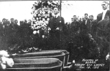 Postcard issued by I. W. W. relating to Everett Massacre. Funeral of 3 Wobbly victims