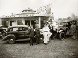 Hudson Terraplane Ruggedness Run.  Group gathered in front of the Shamrock Service station,...