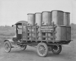 Washington Stove Works delivery truck loaded with stoves