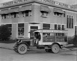Pioneer Alpine Dairy with delivery truck and worker